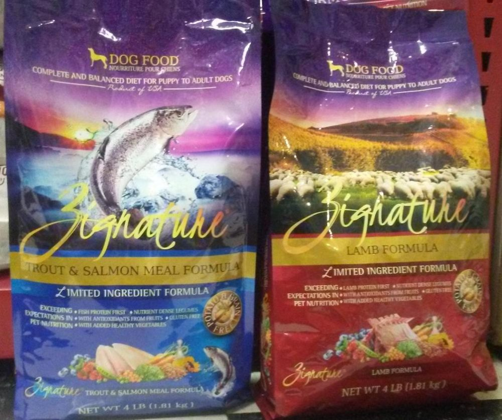 Zignature dog food. Left is the Trout and Salmon meal. To the right is the Lamb.